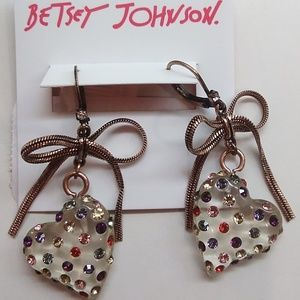 BetseyJohnsonNew Multi-Color Lucite Heart Earrings